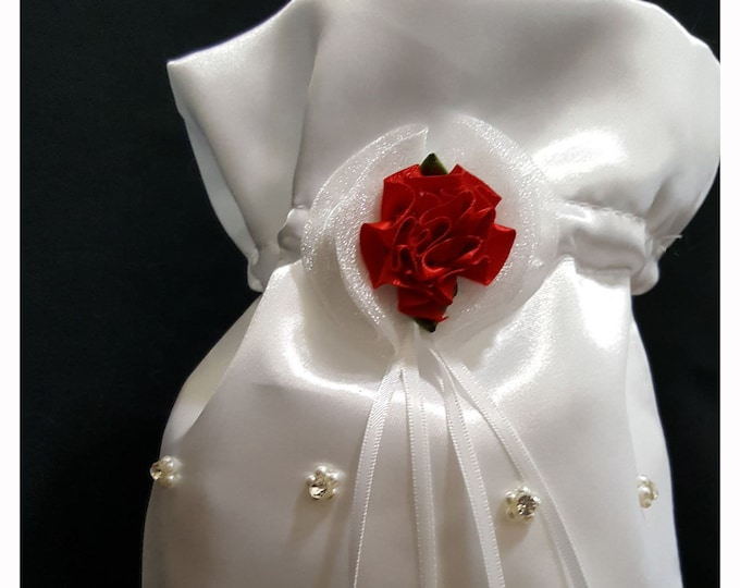 Drawstring purse white satin with red flower, ribbons and rhinestone embellishment.