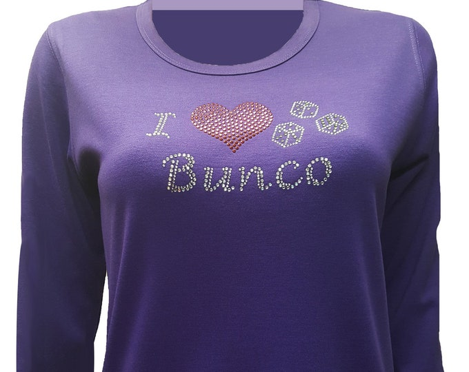 Bunco Bling Purple Shirt with Rhinestone and Rhinestud Embellishment. Combed cotton poly blend.