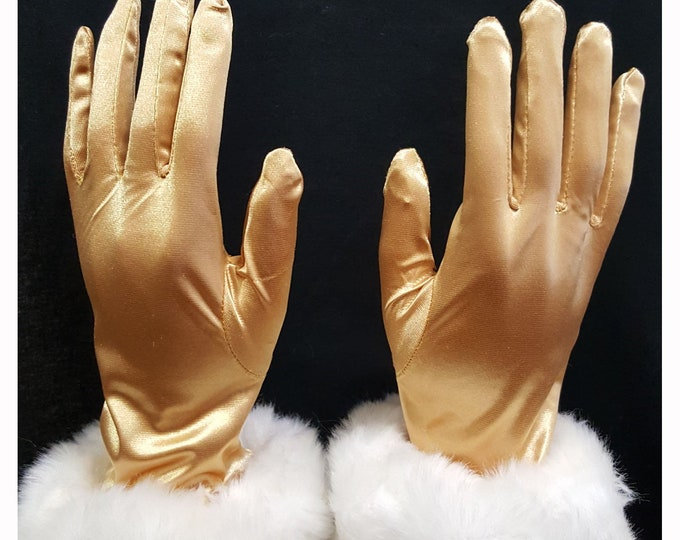 Gold gloves with faux fur cuffs. Ladies gloves fit Md - Lg .