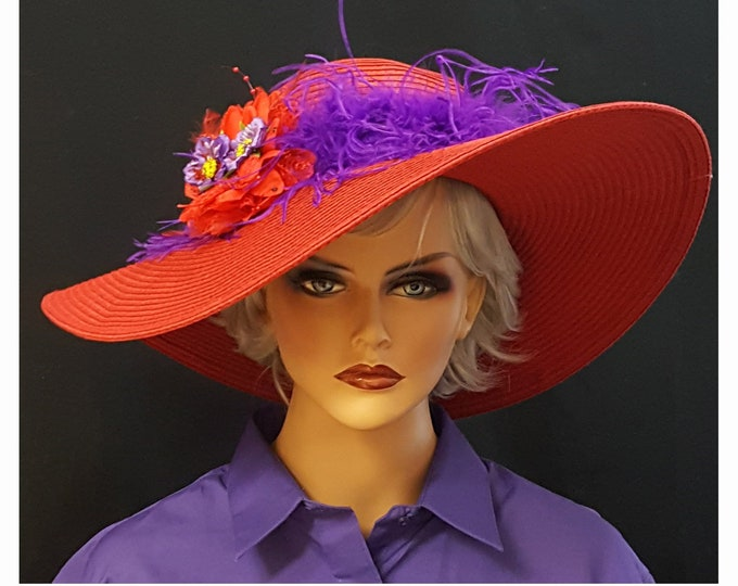 Purple Boa Floppy Red Hat with Silk Hand Painted Posies and Austrian Rhinestones.