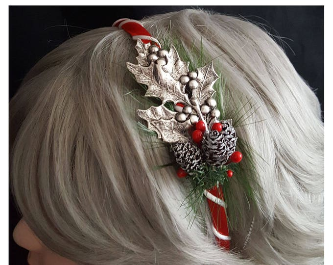 Silver Holly Christmas Headband