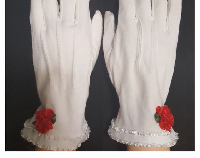 Gloves white cotton with lace and red satin roses. Cotton Decorative top stitching. So feminine and classy.