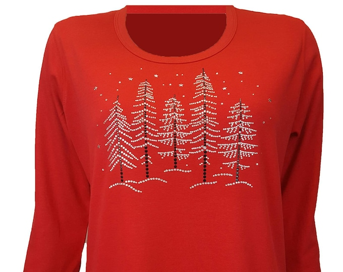 Winter Crystal Trees Bling Red Christmas Shirt with Rhinestone Embellishment. Combed cotton poly blend.