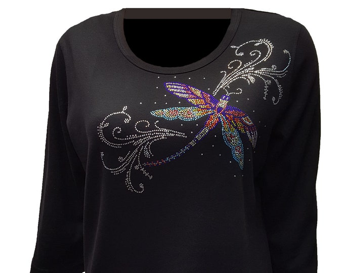 Dragonfly Bling Shirt with Rhinestone and Metal Stud Embellishment.