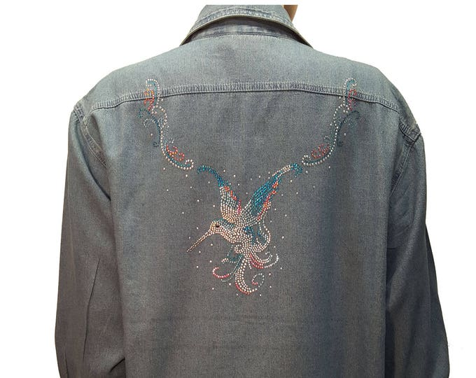 Denim Bling Shirt with Hummingbird Rhinestone Design with Bling Collar in stone-wash distressed fabric.