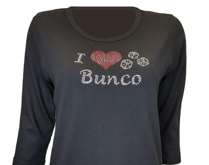 Bunco Bling Black Shirt with Rhinestone and Rhinestud Embellishment. Combed cotton poly blend.