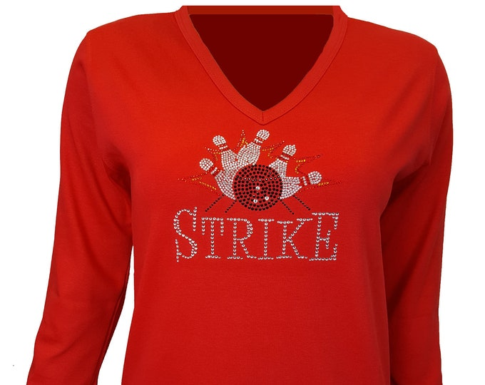 Bowling Bling Shirt with Rhinestone and Rhinestud Embellishment. Red Combed Cotton Poly Blend.