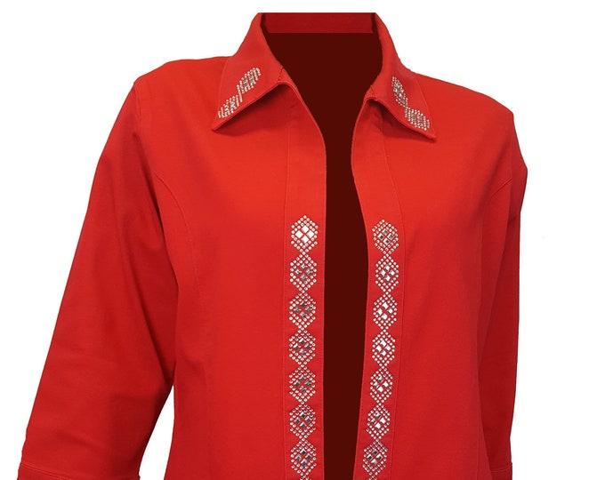 Red denim jacket duster with diamond rhinestone and metal embellishment.