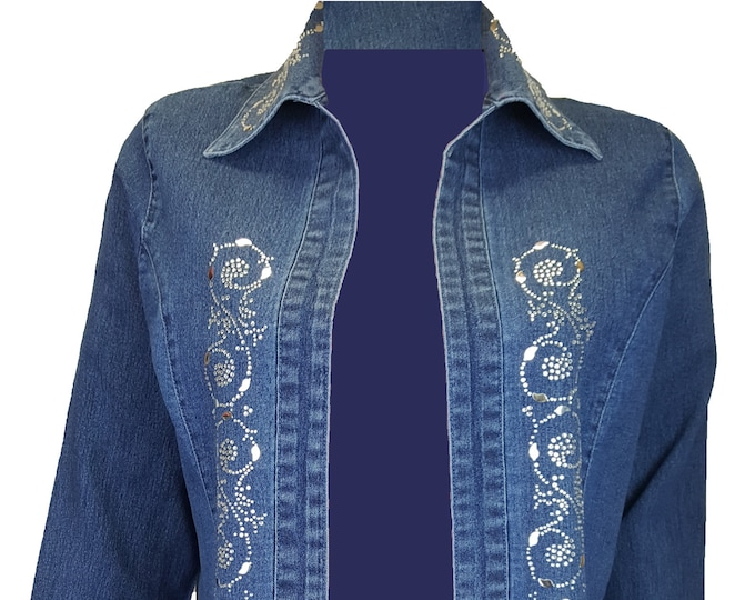 Blue denim jacket duster with crazy 8 rhinestone and metal embellishment.