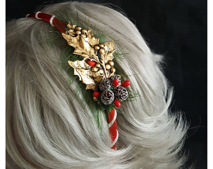 Golden Holly Christmas Headband