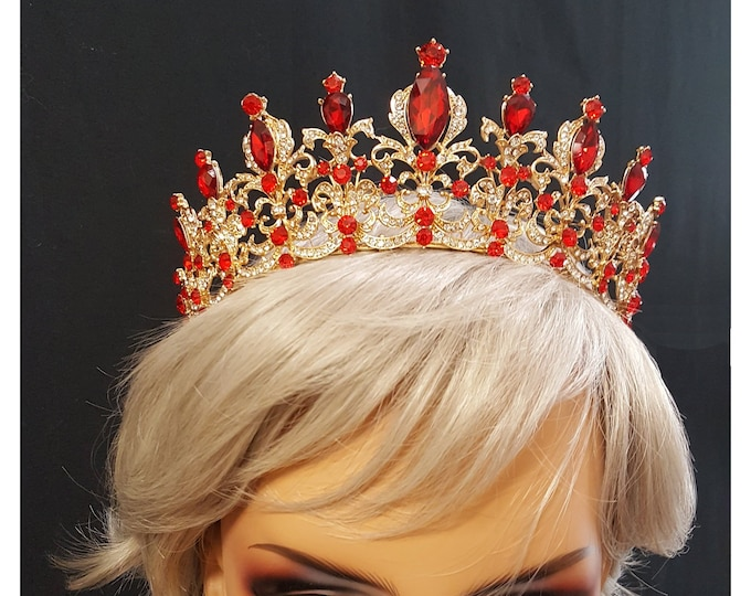 Red Rhinestone and Crystal Crown with gold colored filigree