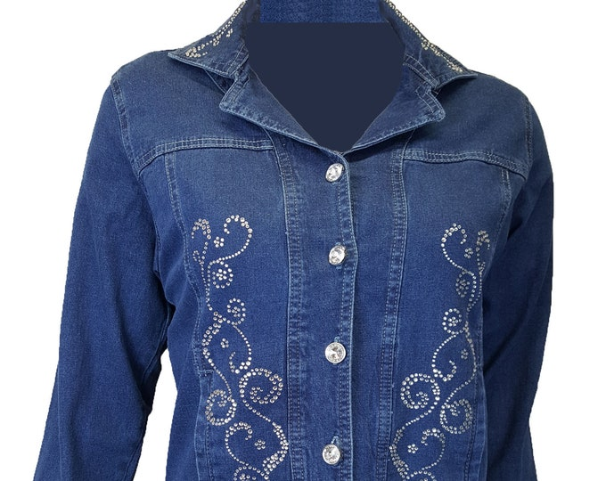 3f4f55994a0 Denim Scroll bling Jacket long sleeves, pockets, and rhinestone buttons and  embellishment. Cotton