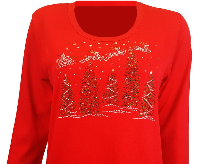 Christmas Bling Shirt with Santa's Sleigh Flying over Christmas Trees. Rhinestone Embellished Red top.