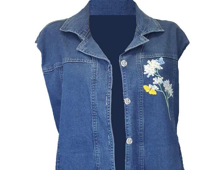 Denim Vest with Embroidered flowers and butterfly appliques. Lg