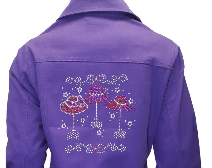 Red Hat Society Purple Denim Jacket with rhinestone hat stand