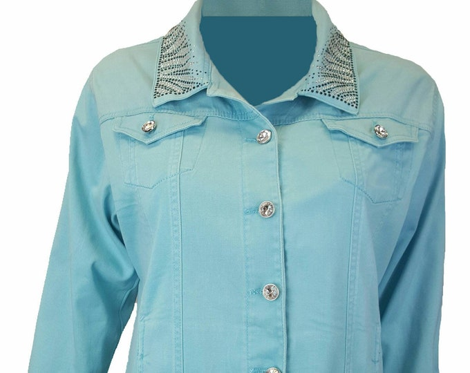 Zebra Bling stretch denim jacket aqua with long sleeves, pockets, and rhinestone embellishment. Several colors available.