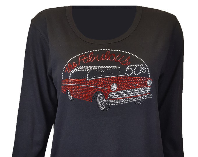 Fabulous Fifties Car Rhinestone Bling Shirt. Combed cotton poly blend.