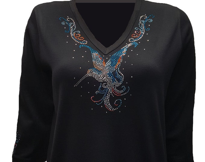 Hummingbird Rhinestone Embellished Bling Black V-Neck Shirt
