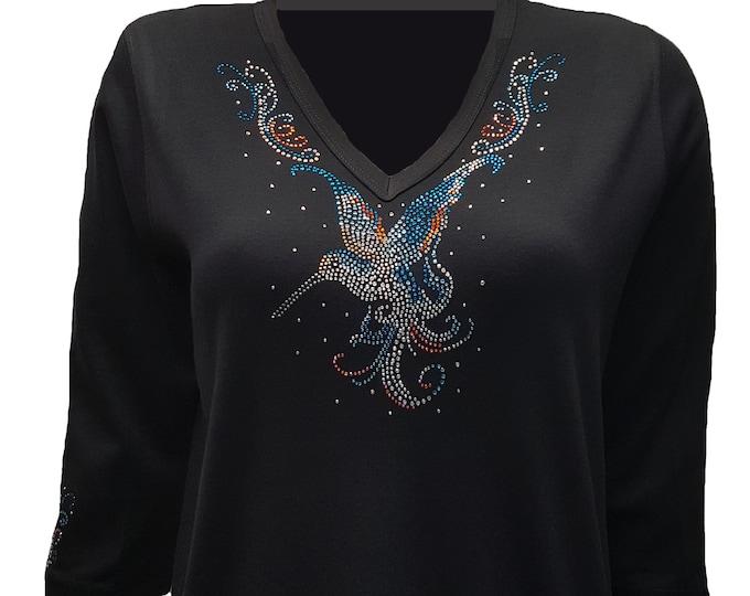 Hummingbird Rhinestone Embellished Bling Black V-Neck Shirt