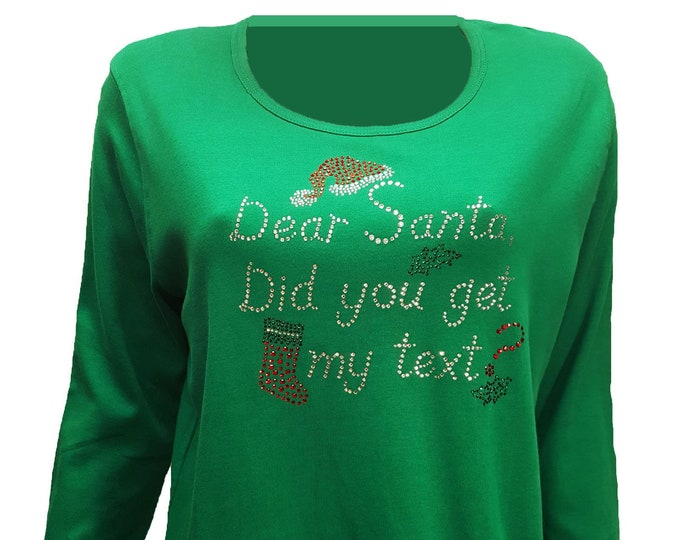 Christmas Bling Santa Text Shirt in Red or Green. Combed Cotton Poly Blend.