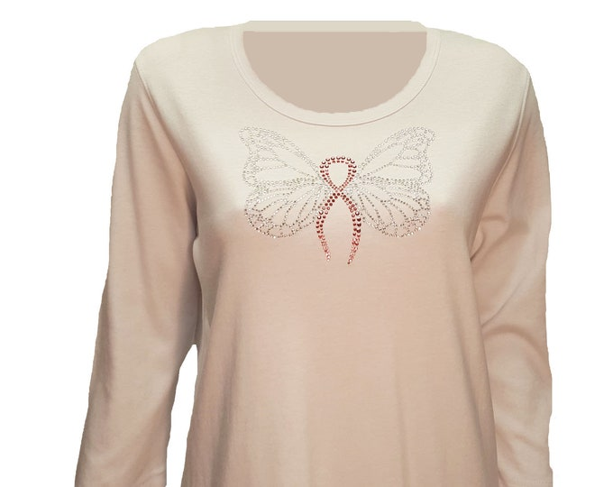 Breast Cancer Support Butterfly Shirt Medium Size Cotton Poly Mix. Rhinestone Bling Embellishment.