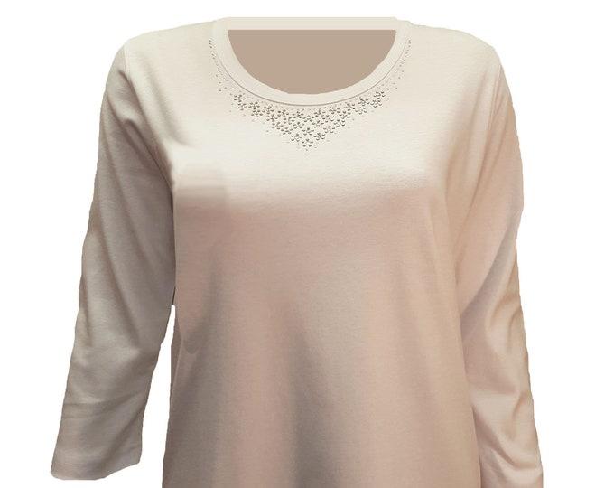 Bling shirt white with rhinestone embellished neckline. Short or 3/4 sleeves , comfortable, and soft.