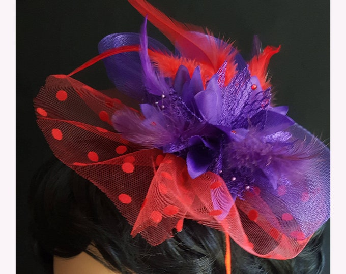Red Hat Society Polka Dot Beauty Headband Fascinator with Red Dot and Purple netting, Silk flower, Feathers, and Rhinestones.