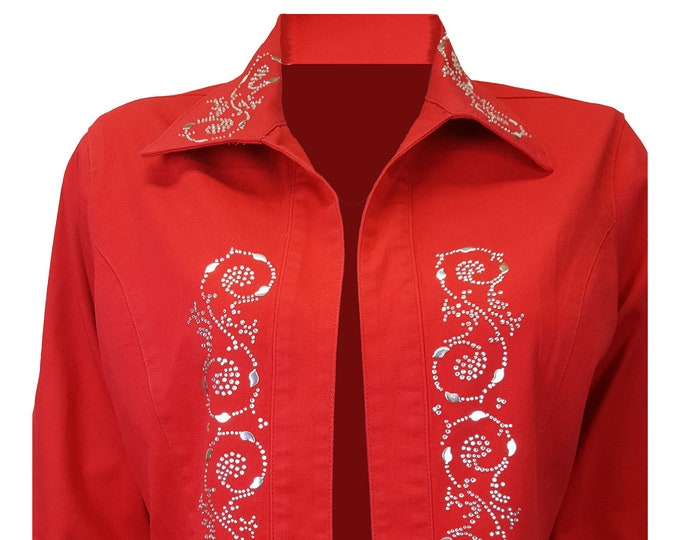 Bling denim jacket red duster with crazy 8 rhinestone and metal embellishment.