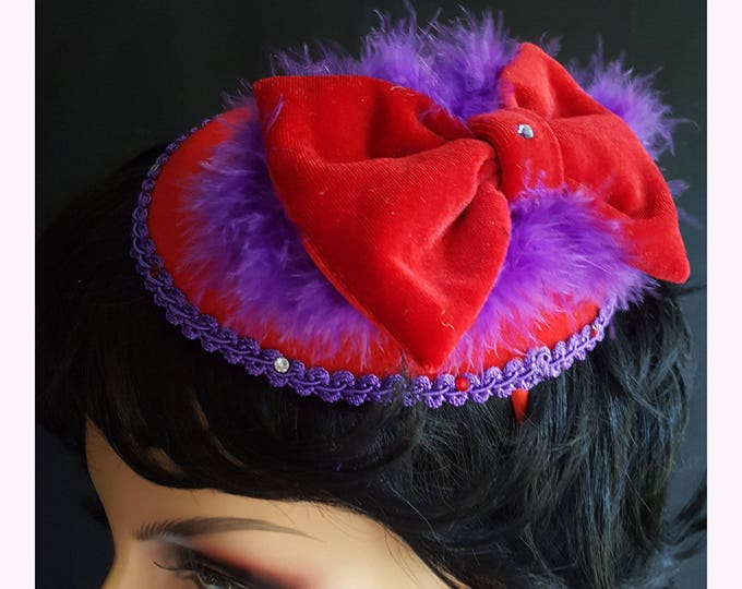 Velvet Fluff Headband Fascinator with Red Felt base, Velvet Bow, Boa Feathers, Fancy Trim and Rhinestones.