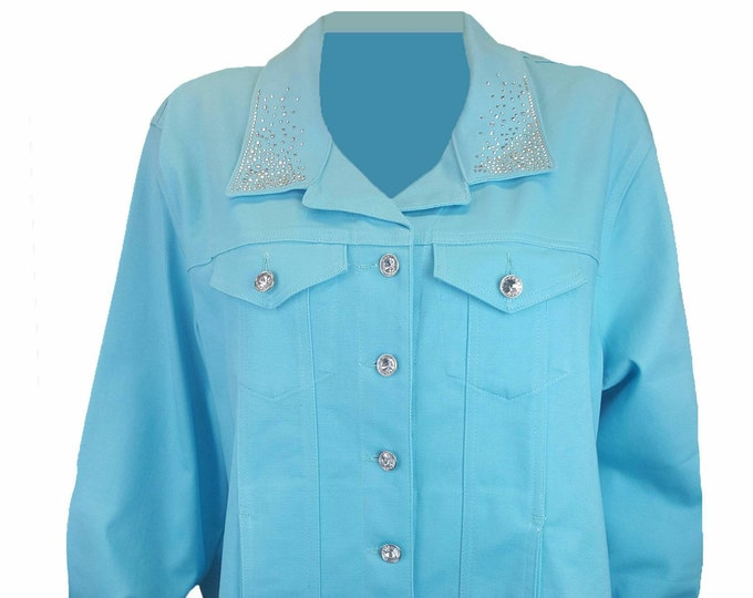 Bling stretch denim jacket aqua with long sleeves, pockets, and rhinestone embellishment. Several colors available.