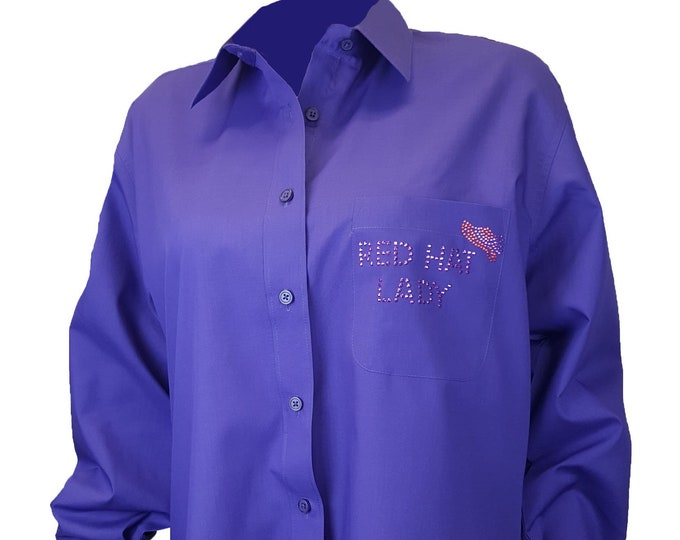 Red Hat Society purple button up shirt with rhinestud designs front and back.