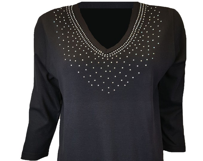 Rhinestone AB Crystals Neckline Bling Black VNeck Shirt. Combed Cotton Poly Blend.