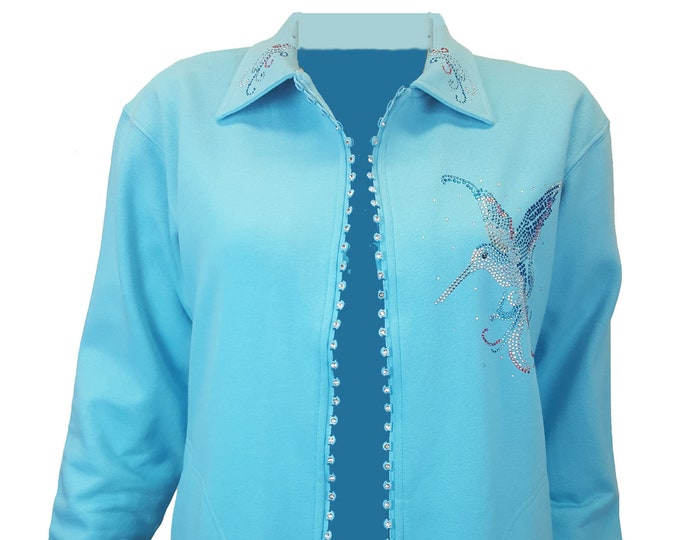 Hummingbird Aqua Blue Fleece Lined Cardigan with Crystal Zipper, Rhinestone Design and Bling Collar.