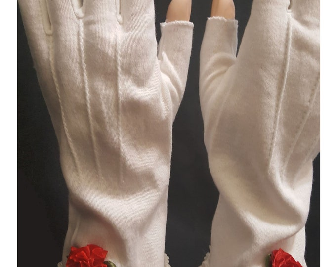 Storyteller half finger white cotton gloves with lace and red satin roses. Cotton Decorative top stitching. So feminine and classy.