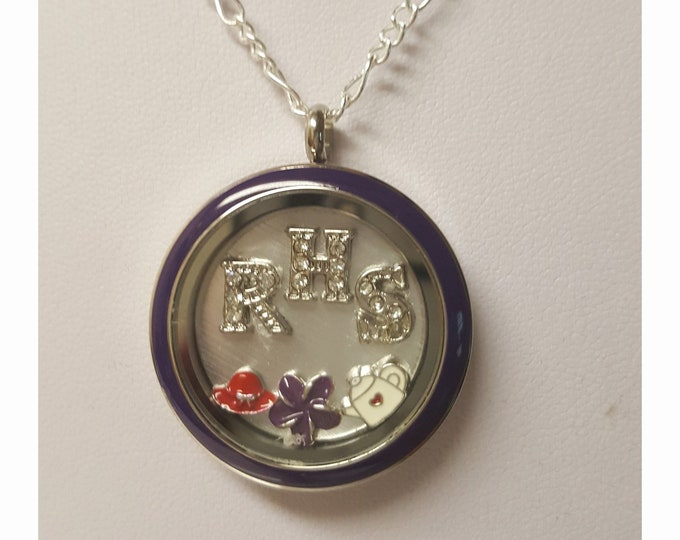 Red Hat Necklace with rhinestone RHS initials in a dark purple memory locket. Includes Red Hatter related charms and chain.