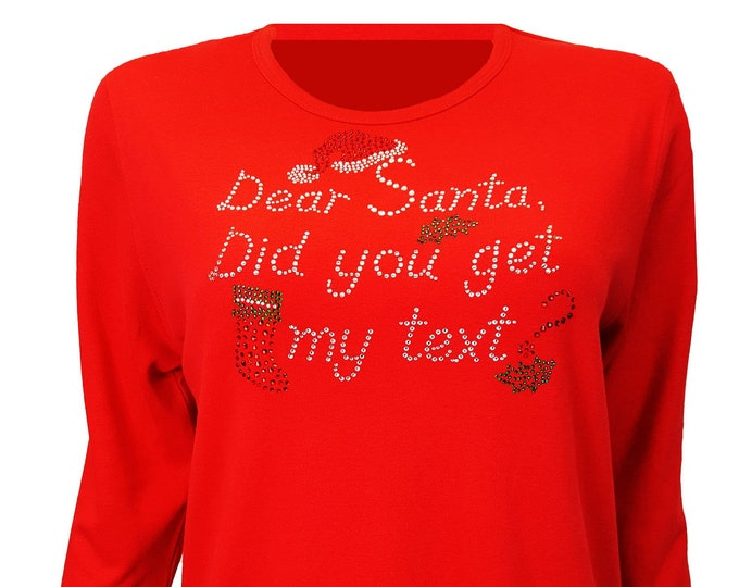 Christmas Bling Red Shirt with Santa Texting Message. Combed Cotton Poly Blend.