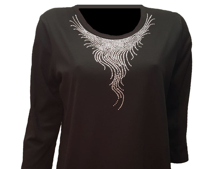 Waterfall Crystal Bling Neckline Black Shirt with Scoop Neck and 3/4 sleeves.