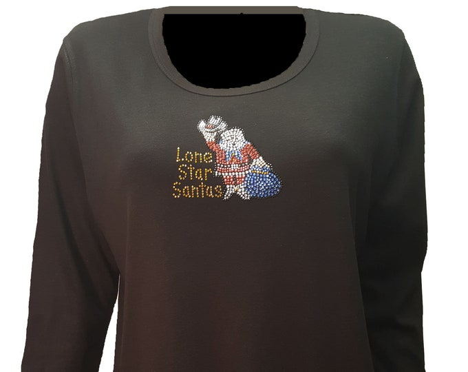 Lonestar Santas Logos Bling Christmas Black Shirt with Rhinestone Embellishment front and back.