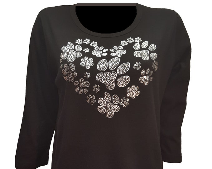 Dog Print Heart Bling Shirt with Rhinestone Embellishment. Soft flexible light weight design. Combed cotton poly blend.