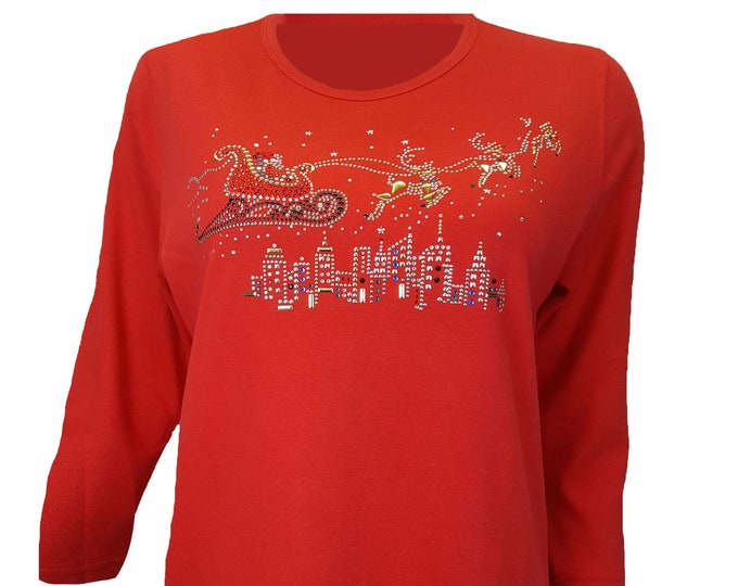 Christmas Bling Shirt with Santa's Sleigh Flying Over a City. Rhinestone Embellished Red top.