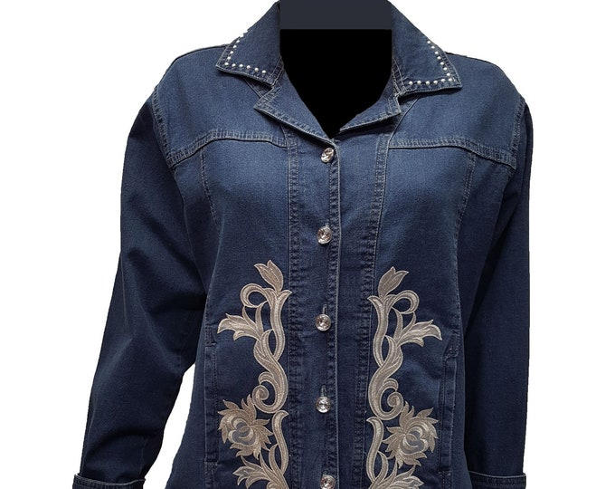 Denim floral embroidery Jacket with rhinestone buttons and pearl embellished collar.