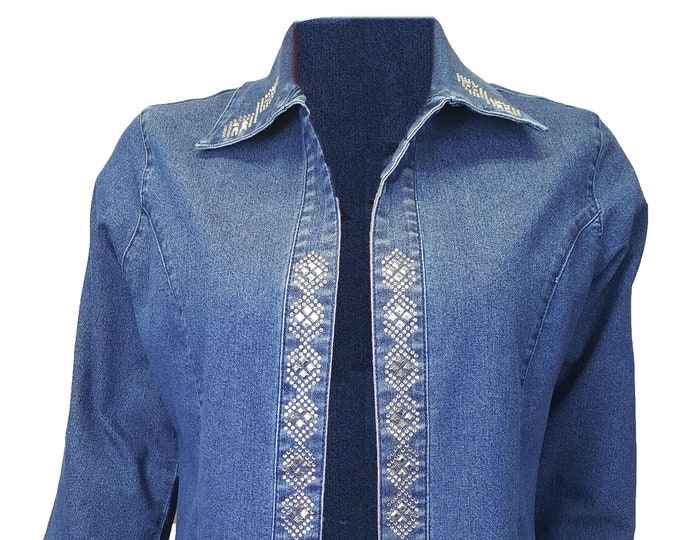 Blue denim jacket duster with rhinestone and metal embellishment.