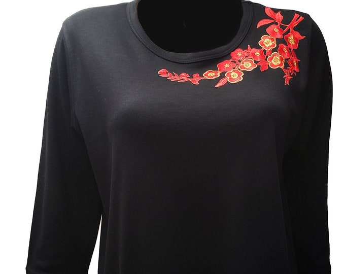 Red embroidered applique neckline Bling Black Shirt. So festive and comfy. Combed Cotton Poly Blend.