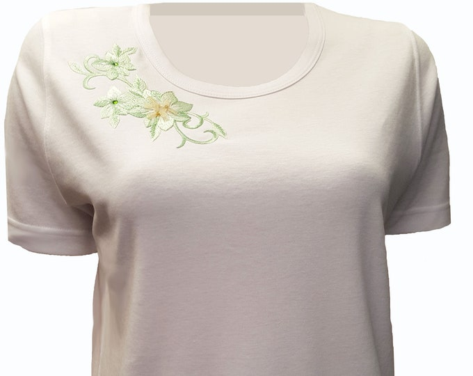 Embroidered Green Flowers with Rhinestones Neckline Bling White Scoop Neck Shirt. Combed Cotton Poly Blend.