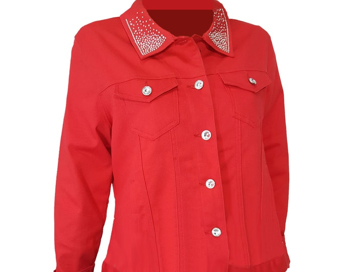 Bling stretch denim jacket red with long sleeves, pockets, and rhinestone embellishment