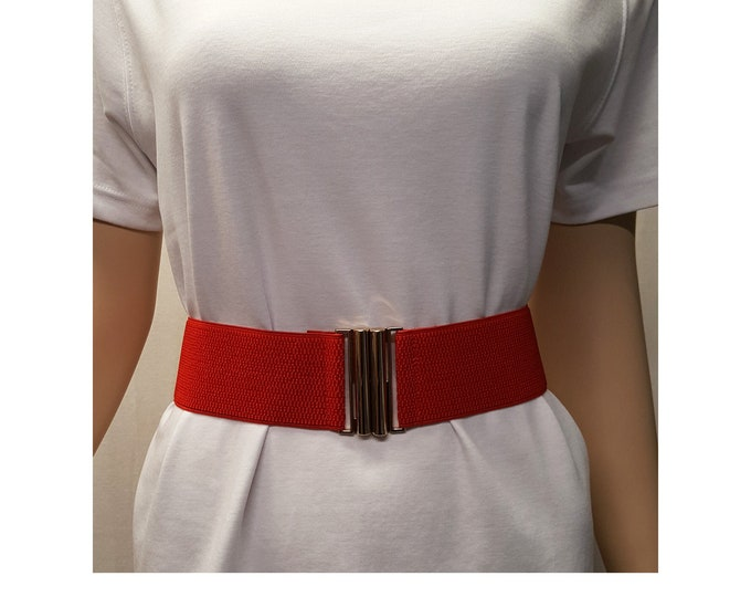 Red Stretch Belt with Gold Metal Clasp Buckle