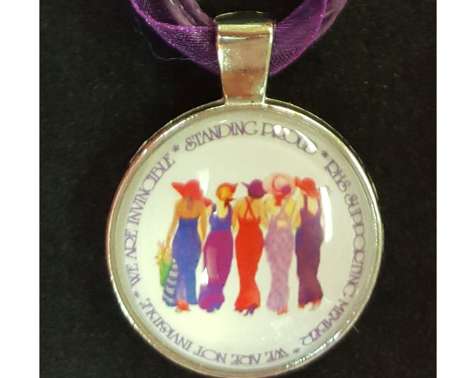 Red Hat Society Ladies Necklace with Glass Cabochon Setting and Purple Ribbon and Cording Choker.
