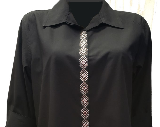 Black bling button up shirt in poly cotton size Medium