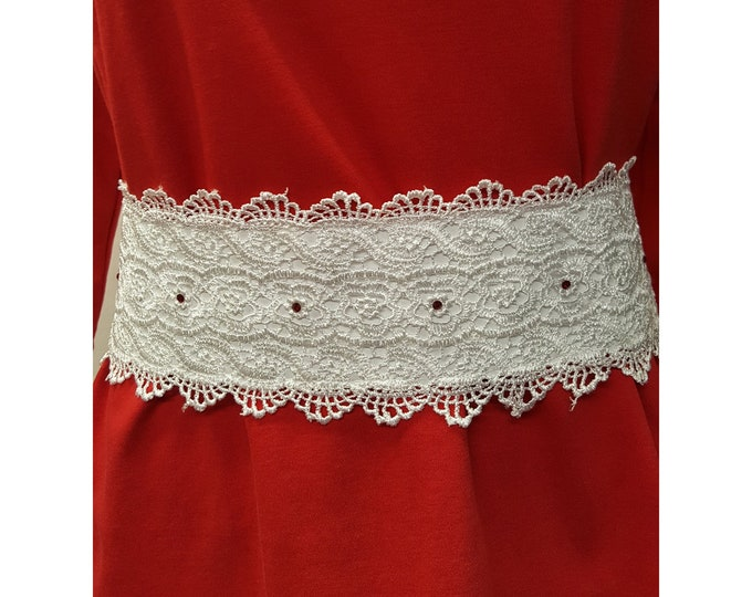 Red or White Lace Belt with Austrian Chrystals and faux leather tie back