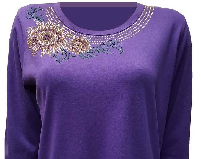 Sunflower Bling Purple Shirt with Rhinestone Embellishment.  Combed cotton poly blend.